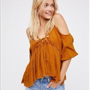 Free People Monarch Mustard Yellow Top/Blouse